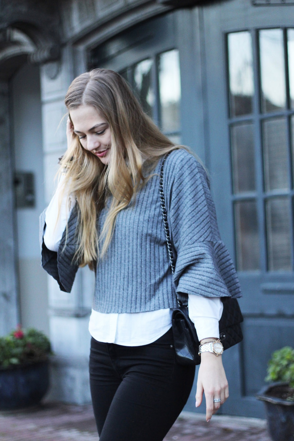 floortjeloves, grey, valentino shoes, chanel bag, choies, skinny jeans, flare sleeve sweater