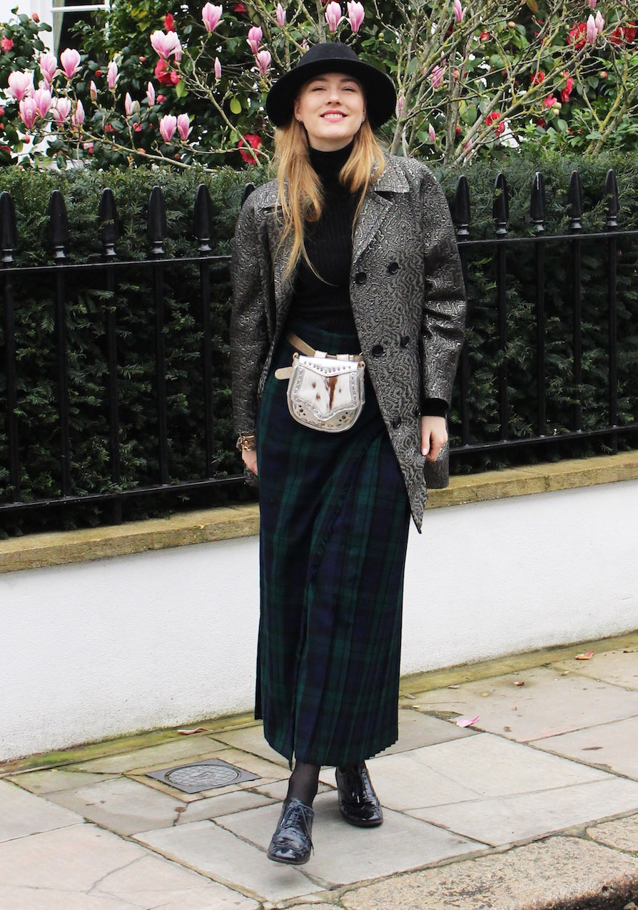 Floortjeloves, LFW, London fashion week, Fashion Week, Belstaff, plaid skirt, Wolford, Spijkers & Spijkers, belt bag, london