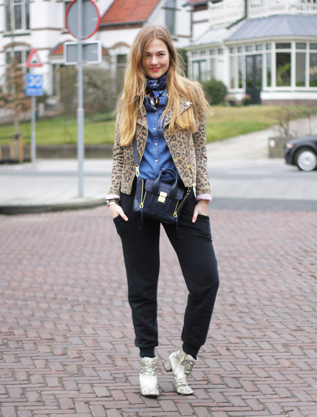 floortjeloves, sweatpants, puma, zara, demontz, zara, leopard, leather jacket, denim shirt