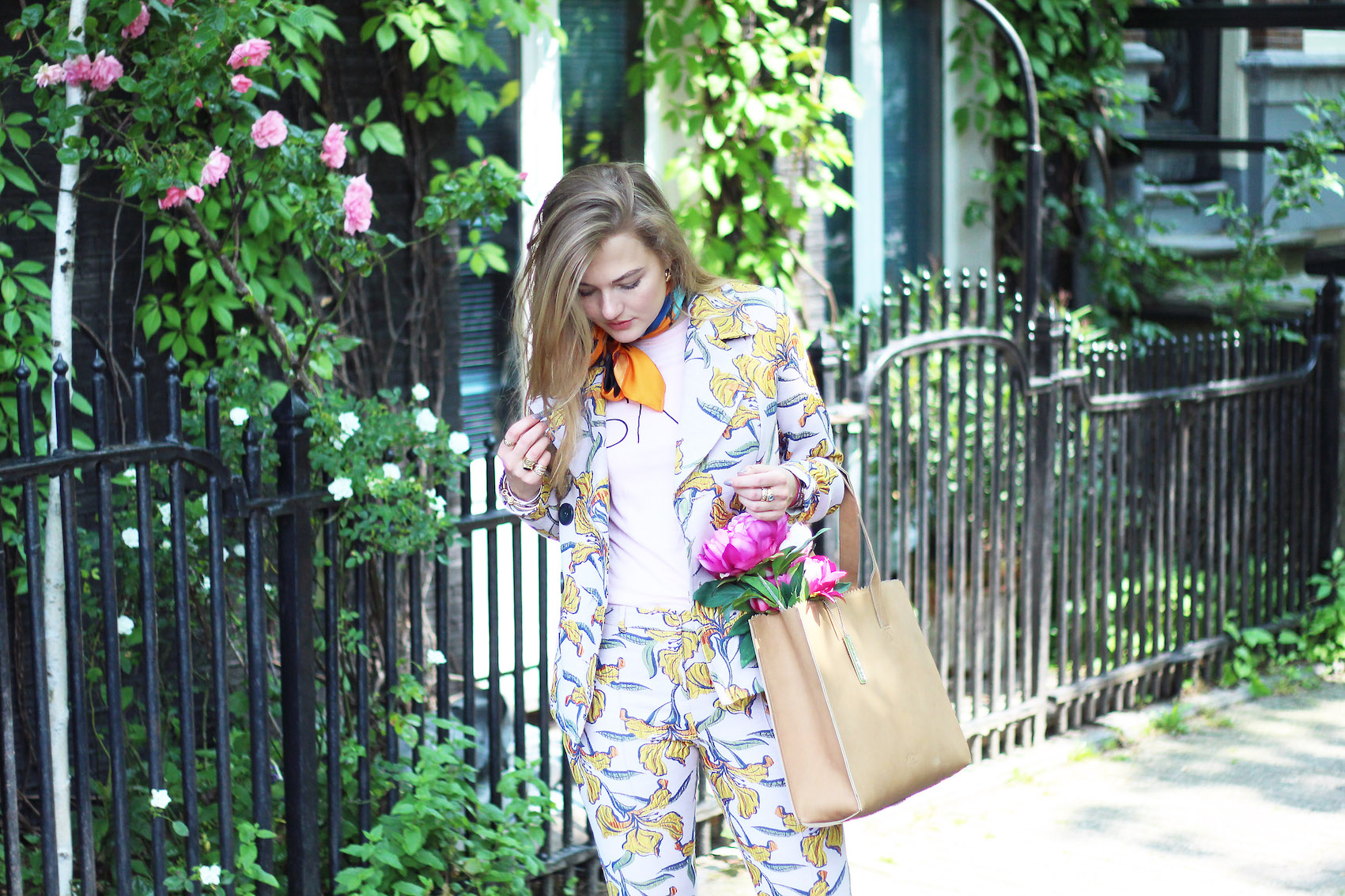 floortjeloves, pink suit, river island, myomy, bag, flowers, print, flower print, floral, floral print, dune, dune london, demon tz, something new fashion, SNF, floral suit