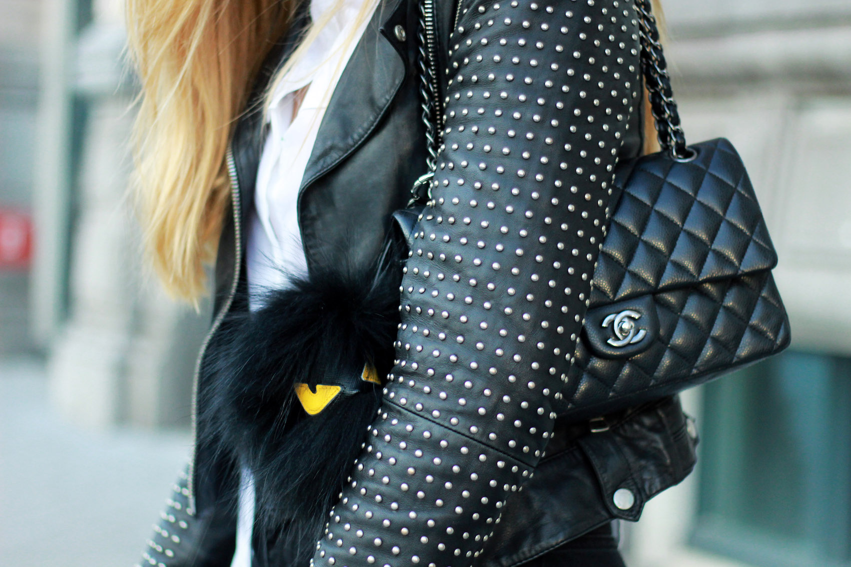 floortjeloves, 5 tips to work productively from home, rich & royal, louis vuitton, river island, leg avenue, gucci, chanel, chanel classic, chanel bag, gucci slippers, leather jacket, H&M, white shirt, fendi keychain, fishnet tights