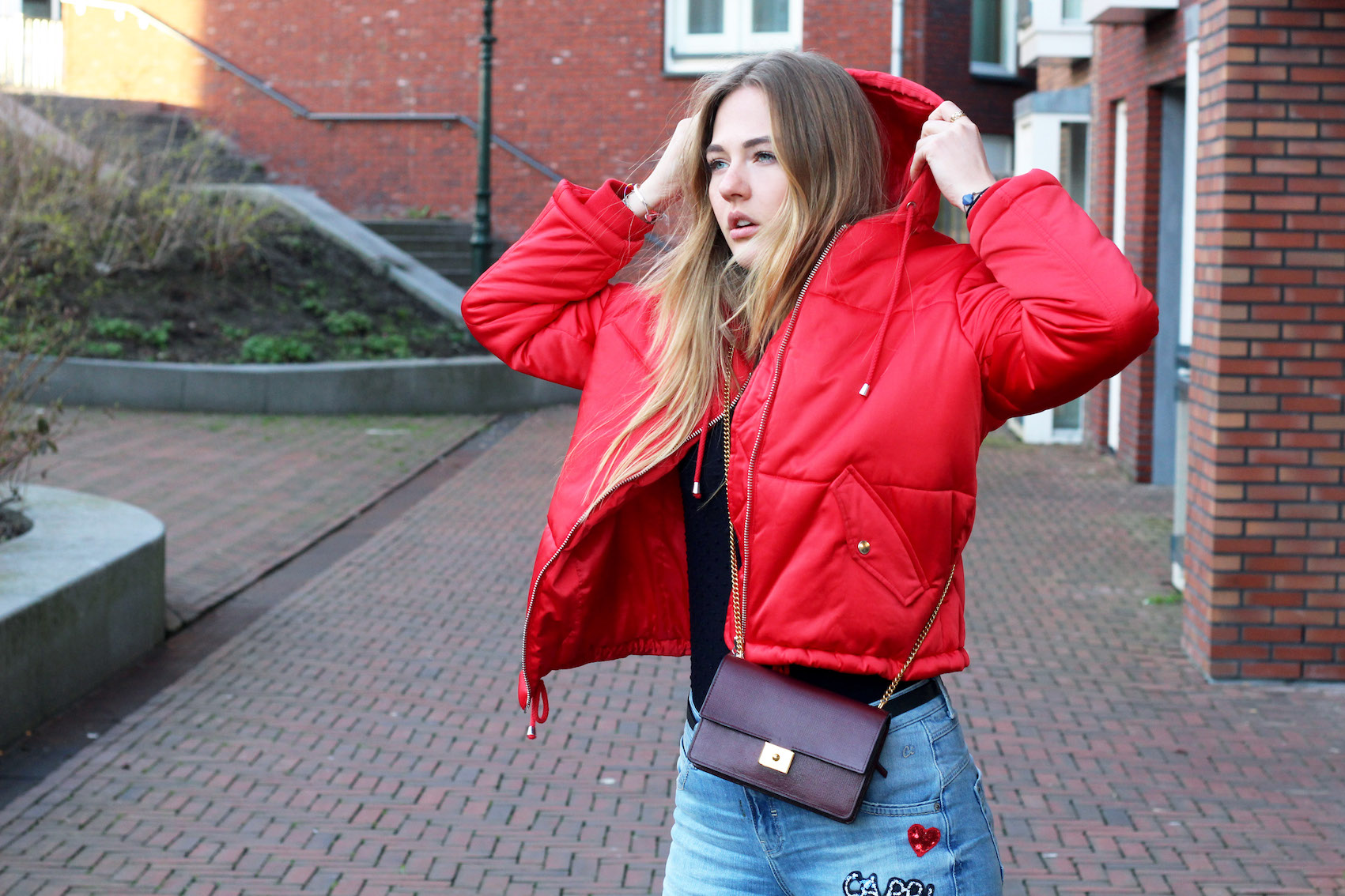 floortjeloves, red, red coat, red puffer, puffer coat, red puffer coat, comma, agl, topshop, mulberry, mulberry bag, H&M