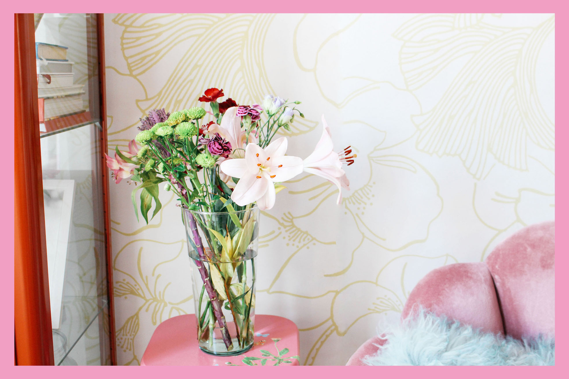 Floortjeloves, home, interior, farrow & Ball, wallpaper, flowers, floral