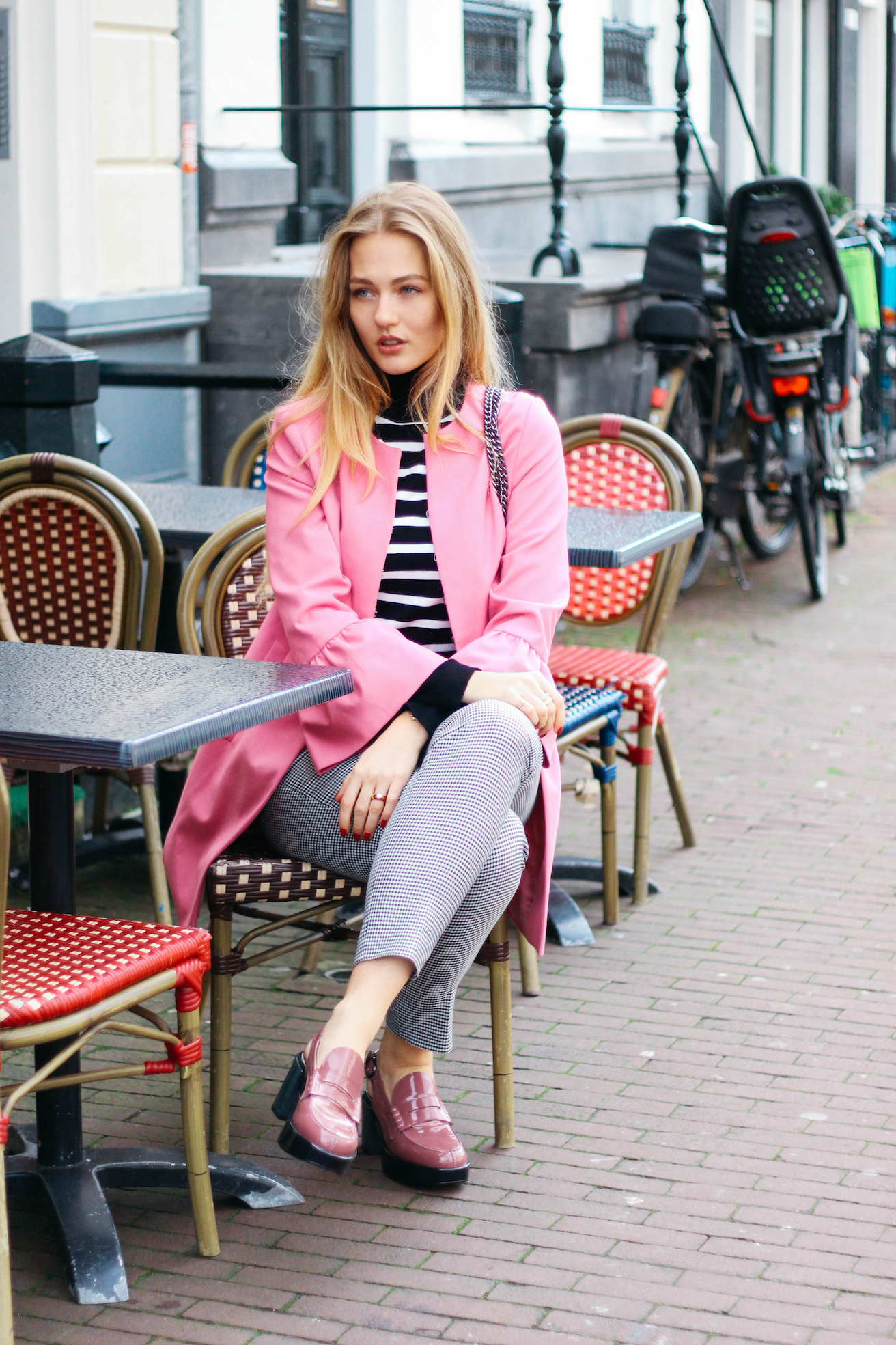 floortjeloves, comma, agl, elisestore, Elise store, checkered, stripes, checkered and stripes, combining prints, pink coat