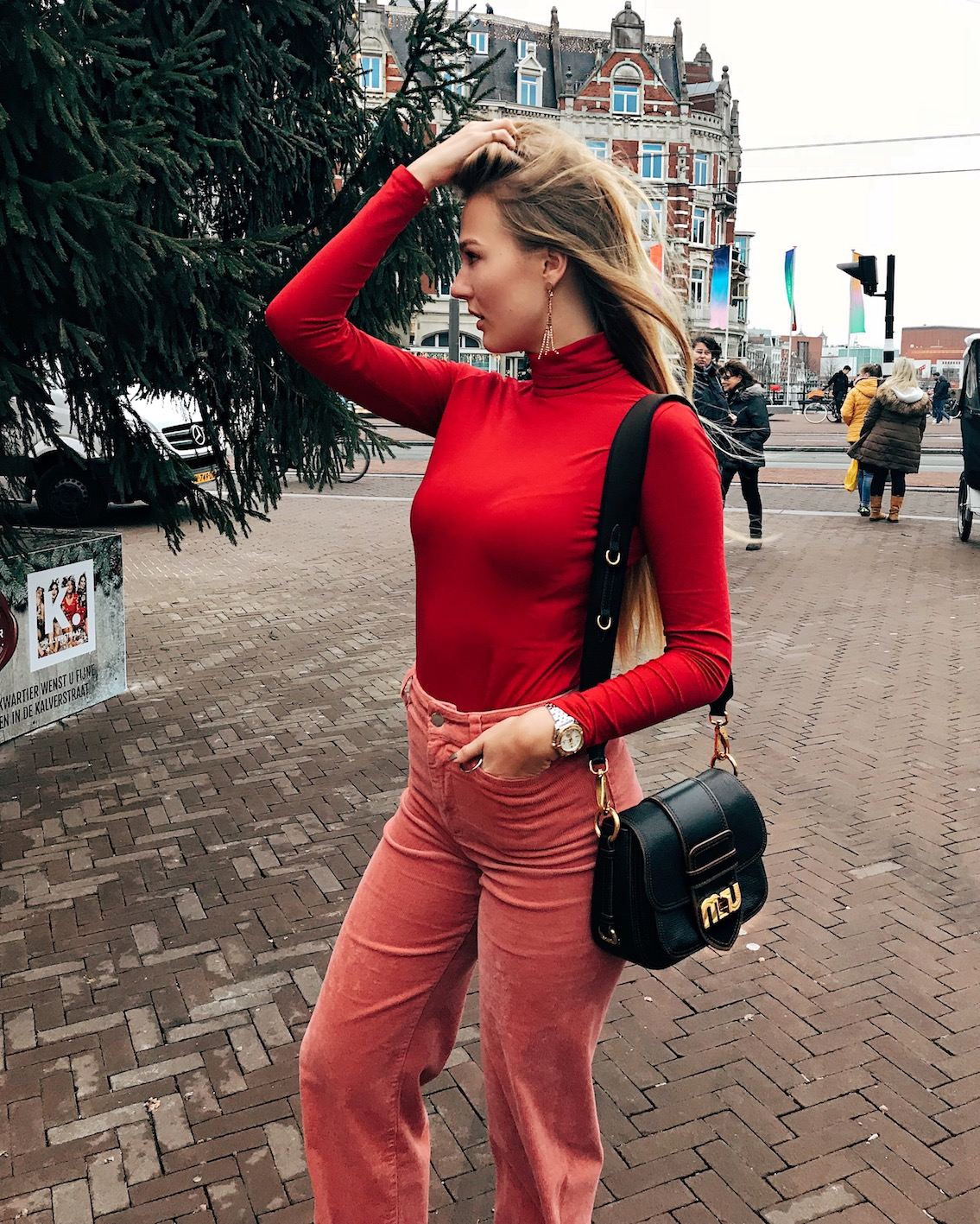 floortjeloves, pink and red, red and pink, what I wore yesterday, what I wore, mango, esprit, miu miu, miumiu, zara, asos, weekday, turtleneck, corduroy
