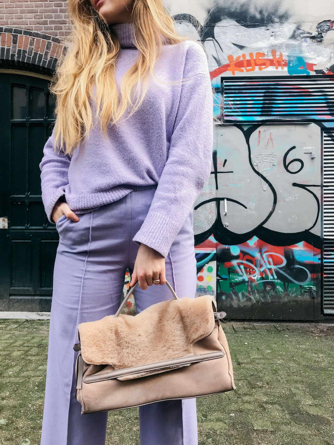 floortjeloves, purple, purple vibes, massimo dutti, co-ord, match, ton sur ton, mango, sock heels, zanellato