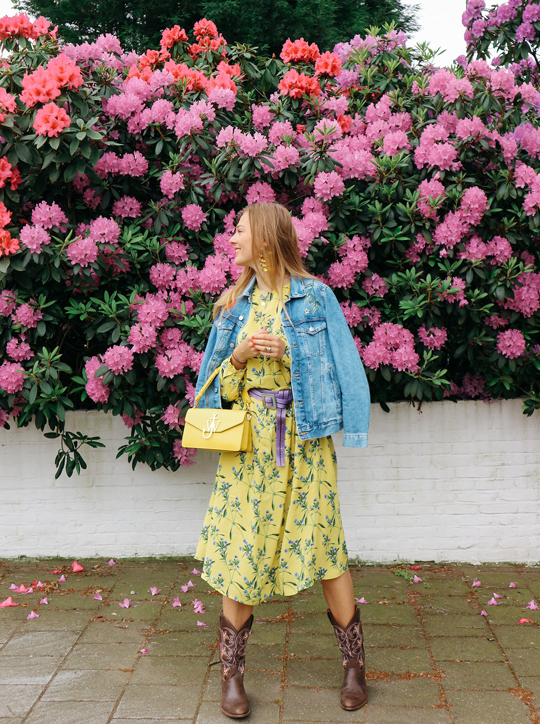 floortjeloves, H&M, floral, floral dress, denim jacket, jw Anderson bag, j.w. Anderson, sendra boots, personal update